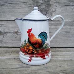 frenh+country+painted+coffee+pots | ... Coffee Pot HP Rooster Art Mushrooms Acorns French Country Hand Painted