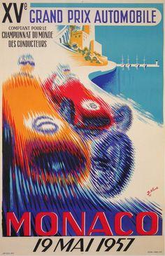 GRAND PRIX MONACO 1957 - AFFICHE ANCIENNE :: MASTER POSTERS