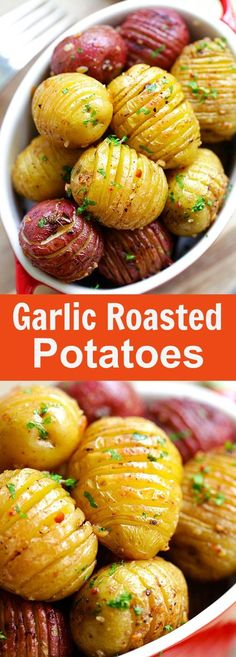 Garlic Roasted Potatoes – best and easiest roasted potatoes with garlic butter and olive oil. 10 mins prep and 40 mins in the oven