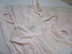 Pink Taffeta Maternity  Slip Vintage 1930s 1940s Metal Sliders  Bridal Boudoir Lace by FabulousVintageHats on Etsy