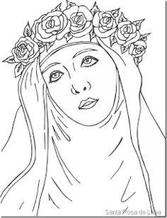 Dibujos de Santa Rosa de Lima para Colorear ~ Dibujos para Niños