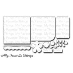 "MFT Stamps Die-namics Blueprints 14 | Dies: Stitched square 4 11/16"" x 4 11/16"", Rounded corner square 3 11/16"" x 3 11/16"", Rounded corner rectangle 2 5/8"" x 3 3/4"", Dot border 4 1/2"" long, Scallop border 4 11/16"" x 5/8"", Large flower 2"" x 2"", Flower center 1 1/16 diameter, Button 3/4"" diameter, Small leaf 1/2"" x 1/4"", Large leaf 3/8"" x 5/8"", Leaf vine 2 1/8"" x 1 1/8"", Ticket tab 2 5/8"" x 5/8"", and Tab 1 1/2"" x 5/8""."
