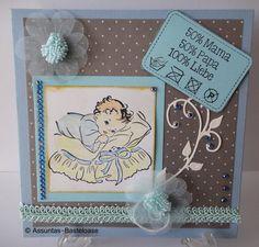 Wunderschöne,   gestempelt Glückwunschkarte zur Geburt eines Jungen Cover, Frame, Handmade, Decor, Stamping, Boys, Nice Asses, Picture Frame, Hand Made