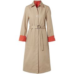 Maje Maje - Reversible Two-tone Cotton-gabardine Trench Coat - Sand ($585) ❤ liked on Polyvore featuring outerwear, coats, sand, gabardine trench coat, gabardine coat, trench coats, maje and double face coat