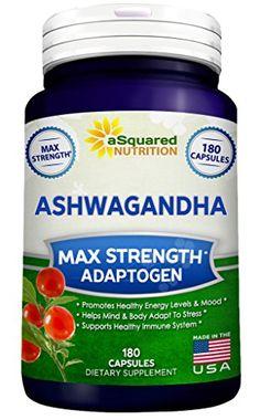 Pure Ashwagandha Supplement - 180 Capsules, Max Strength Ashwaganda Extract Root Powder, 100% Natural Withania Somnifera Ayurveda Formula, Herbal Adaptogenic India Ginseng Tablet Pills for Men