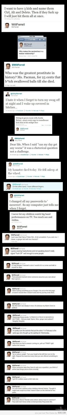 Will Ferrell has the funniest Tweets in history! Haha