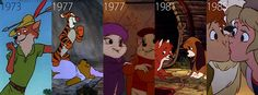 via tomlinshire-Robin Hood-1973, The Many Adventures of Winnie the Pooh-1977, The Rescuers-1977, The Fox and the Hound-1981, The Black Cauldron-1985