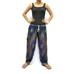 Navy Flower Print Unisex Thai Harem Pants/Pulling by AsianChicShop, $15.99   harem pants, men harem pants, harem pants pattern, hippie boho pants, trouser harem pant, hippie pant harem, women harem pants, harem pant, harem pant women, yoga pants, elephant pants, aladdin pants
