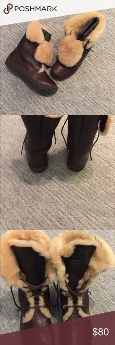 Born Leather and Shearling Lugano Winter Boots Beautiful boots by quality shoemaker Born.  These gorgeous leather and shearling boots are one of kind in their uniqueness. Foldover style provide fashion as well as comfort. These boots provide warmth for hours on those cold winter days! Born Shoes Winter & Rain Boots