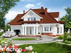 Projekat kuće sa potkrovljem i garažom – Archon 3 Village House Design, Bungalow House Design, House Front Design, Small House Design, Dream Home Design, Modern House Design, Bedroom House Plans, Dream House Plans, Modern House Plans