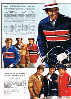 nylon windbreakers | Sears 1973 Barefoot In The Park, 70's Style, Retro Ads, Sharp Dressed Man, Wet Look, Teenage Years, Sports Jacket, After Dark, 70s Fashion