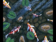 How To Paint Fish in Pond (Koi) With Acrylic On Canvas Complete Painting Demonstration - YouTube