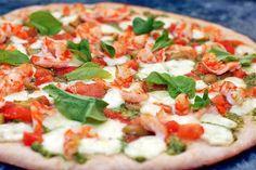 Pizza with shrimp, mozzarella, tomatoes and basil. #pizza #recipe #cooking #food #shrimp #mozzarella #basil