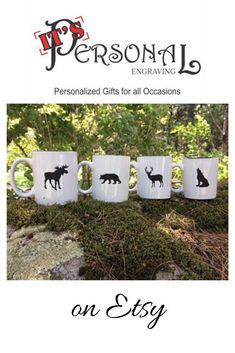 Our Wildlife Coffee Mug set makes a great Christmas Gift! The set includes a bear, moose, deer and wolf. Each coffee mug can be personalized!  christmas gifts, personalized gifts. gift sets, personalized coffee mugs, gift for couple, gift for friend, for cabin, cabin decor, gift for mom, unique gifts, unique coffee cups, for mountain lovers, unique christmas gifts, personalized christmas gifts, personalized cup, cup for mom, cup for dad, gift for parents, from kids, for coffee lover, animal gift Christmas Gifts For Couples, Unique Christmas Gifts, Personalized Christmas Gifts, Unique Gifts, Holiday Gifts, Personalized Ceramic Coffee Mugs, Personalized Cups, Customized Gifts, Custom Gifts