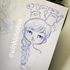 regram @winklebeebee November 24th #dailydrawing [Thoughts]. #art #artstagram #drawing #illustration #sketch #sketchbook #doodle #pen #ballpointpen #monsters #design #instaart #igdraws #creative_instaarts #abeautifulmess