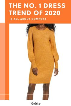 Yes, the comfy, cozy sweater dress is shaping up to be the number one dress trend of fall 2020 and we've gotta say, we're pretty darn pleased about it. #sweaters #dress #trend