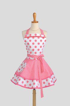 Ruffled Retro Apron - Sexy Womens Apron in Bubblegum Pink Polka Dots Handmade Full Kitchen Apron. $42.00, via Etsy.