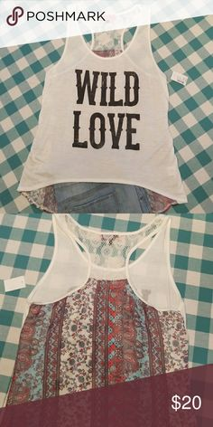 Wild Love tank Fun and flirty, wild love tank is junior sized medium. It features crochet detail on the upper back and flowy patterned detail on the lower back. This high-low waisted tank is perfect for vacation or the weekend! Sugar High Tops Tank Tops