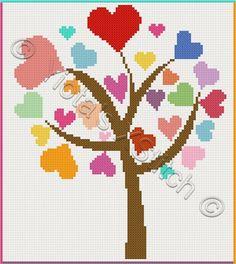 Love tree cross stitch kit or pattern   Yiotas XStitch
