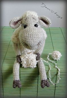 Lamb in sweater OOAK Stuffed Animals Crochet Handmade Soft toy decor Amigurumi Made to order
