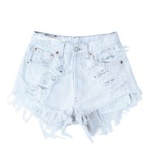 "ALL SIZES ""ICE"" Vintage Levi high-waisted denim shorts white... ($25) ❤ liked on Polyvore featuring shorts, bottoms, pants, short, short jean shorts, high rise shorts, white high waisted shorts, distressed denim shorts and denim shorts"