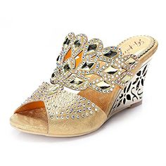 67cf604c7 Unicoratha Women s Rhombus Shaped with Crystal Rhinestone... https   www. Low  Heel ...