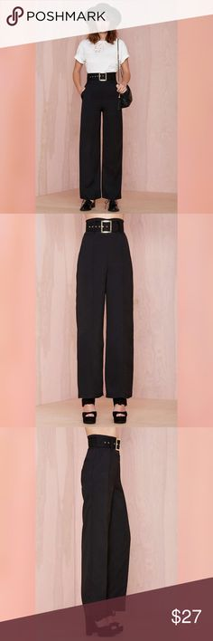 """High Waist Wide Leg Trousers NEW, direct from distributor without hangtags. Brand is Six Crisp Days, sold at Nasty Gal. Runs big, refer to measurements below. The Below the Belt Trousers feature a high waist, side pockets, front stitching detail, and wide leg silhouette. Side zip closure. 100% polyester. Credit to Nasty Gal for model photos.  *Belt was lost in transport; reflected in listed price.  14"""" waist, 45"""" length, 31"""" inseam, 15"""" rise. Nasty Gal Pants Wide Leg"""