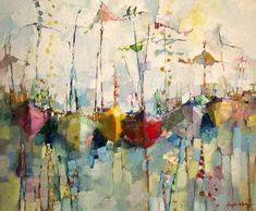 Angela Morgan's paintings always exude joy and these abstracted boats are no exception.