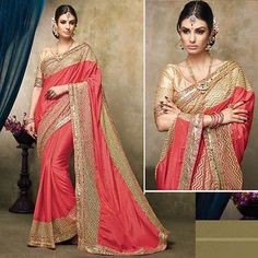 LadyIndia.com #Printed Sarees, Pink Designer Wear Satin Chiffon Sarees with Brocade Blouse, Printed Sarees, https://ladyindia.com/collections/ethnic-wear/products/pink-designer-wear-satin-chiffon-saree-with-brocade-blouse
