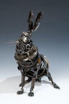Damn Fresh Pics: Steampunk Animals by James Corbett, The Car Part Sculptor