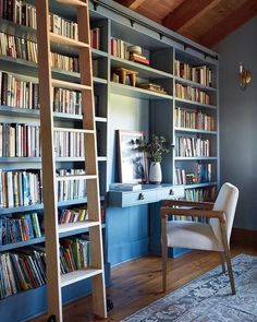 """Katie Monkhouse Interiors on Instagram: """"Anybody else still not really adjusted to WFH w/ kids?! I can't be the only one struggling. Today we had a babysitter for the first time in…"""" Library Ladder, Home Library Design, Highland Homes, Built In Bookcase, Raised Panel, Fine Woodworking, Built Ins, Home Office, Flooring"""