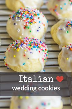 Italian Cookie Recipes 76785 The BEST Italian wedding cookies! Can be made with almond or anise flavoring and drizzled with a light and sweet icing! Change up the color of the nonpareils according to season :) Italian Anise Cookies, Italian Lemon Cookies, Italian Ricotta Cookies, Italian Wedding Cookies, Italian Christmas Cookies, Italian Cookie Recipes, Easy Cookie Recipes, Christmas Desserts, Christmas Baking