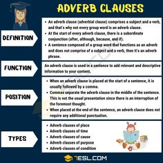 Adverb clauses are more complex than common adverbs, but they are significant when it comes to adding additional information to your writing by explaining how a English Grammar Rules, Teaching English Grammar, English Language Learning, English Writing, English Vocabulary, Transitive Verb, Essay Writing Skills, Learn English For Free, English Collocations