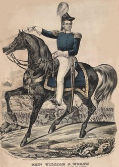 General William Jenkins Worth, mounted during US-Mexican War.  Col. Worth was commanding officer of forces in Florida at the end of the Second Seminole War and for a few years following.  His wife and daughter are buried at St. Francis in St. Augustine.  He spent a significant time of his military career in Florida.  His adjutant John T. Sprague married Worth's daughter.