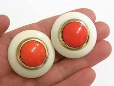 Mod Plastic Round Clip On Earrings Orange White & Gold Clip
