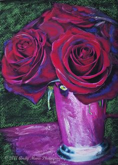 Red Roses In Vase_Pastel Photo Painting_Close-up