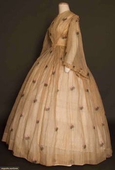 PRINTED VOILE DAY DRESS, 1850s 1-piece, sheer cotton, light brown & white stripes w/ scattered rose blossoms in shades of pink w/ brown & green, front tiny thread buttons, bell sleeve w/ ruched top cap, very full bell skirt