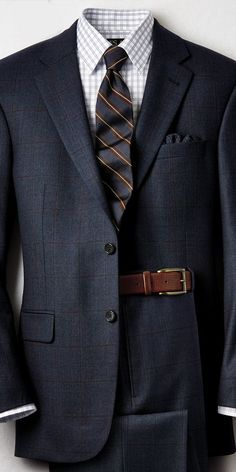 Navy, brown, check + rather spread collar
