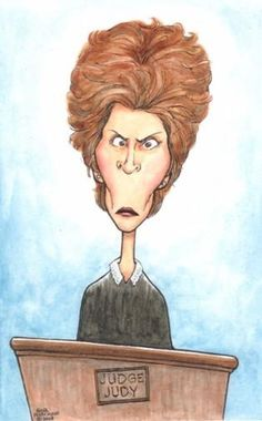 Judge Judy, studio caricature in paintings 'n' drawings by Gina Minichino