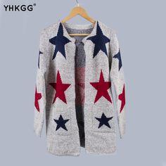 2017 YHKGG Women Sweater Fashion Star Pattern Cardigans Female Sweaters Long  Sleeve Knitted Slim Cardigan Pull b804ade5c