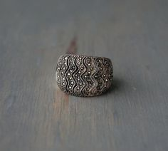 Vintage Sterling Silver Filigree Marcasite Ring with Wavy Pattern by MintAndMade, $65.00