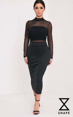 Shape Olivia Black Mesh Top Midi Dress