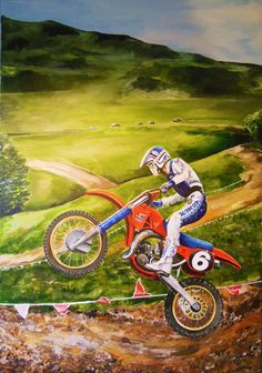 "Ron Lechien Honda 125cc at castle Rock Colorado MX National in 1980's, a commission for Rob Turrel. Painting is acrylic on canvas 30"" x 40"" pai nterd by Rob Kinsey."