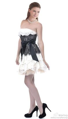Faironly White\Black Lace Sexy Club Sash Prom Bridesmaid Gown Evening Dress #Dress