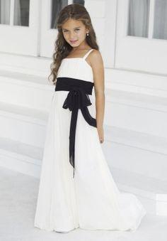 Chiffon Spaghetti Straps Column Long Junior Bridesmaid Dress - Bridesmaid - WHITEAZALEA.com