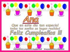 Tarjetas de feliz cumpleaños . : Ana . Tarjetas con nombres de mujer