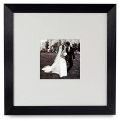 5 x 5 Matted Square Picture Frame for Wall Mount, with White Mat, Aluminum - Black