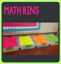 Math Bins for Early Finishers ~ keep them learning and engaged using great ideas and hands on learning