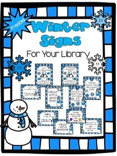 Winter signs for a school library/media center FREEBIE
