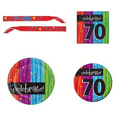 70th Birthday Party Supply Kit for 16 guests: Bundle Includes Dinner Plates, Dessert Plates, Napkins, and Birthday Sash ** For more information, visit image link. (This is an affiliate link) #PartySupplies